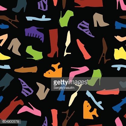 Seamless pattern of colored women shoes