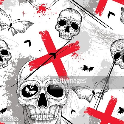 Seamless pattern with skull, lines, red crosses, butterflies and blots.