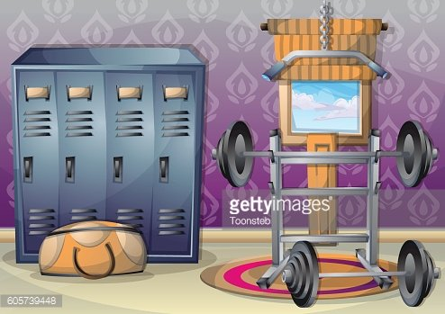 cartoon vector illustration interior fitness room with separated layers