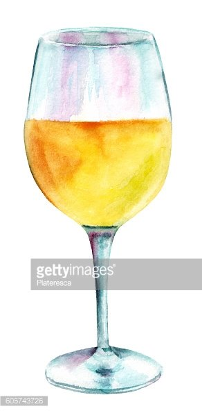 Glass of white wine, hand painted in watercolors
