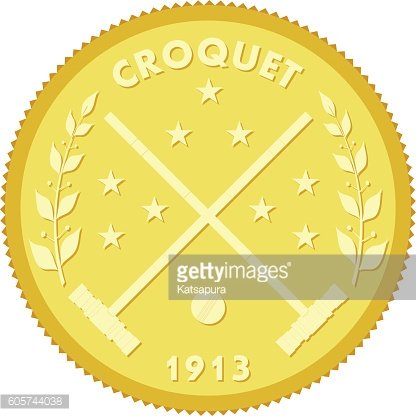 Gold medallion with the image of sticks and croquet ball.