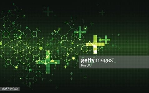 Science template, green wallpaper or banner.