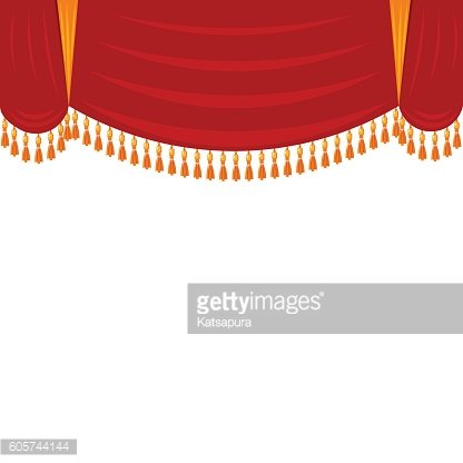 Horizontal red curtain with gold fringe. Theatrical scenery, har