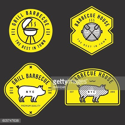 Set of barbecue logo, badges, banners, labels for BBQ shop.