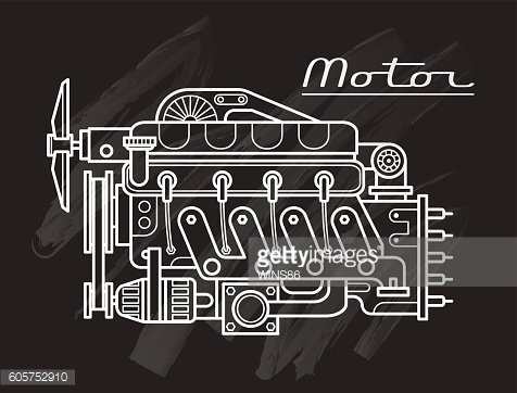 Motor. Engine line drawing black background. Vector. Isolated