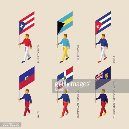 Set of 3d isometric people with flags of Caribbean countries
