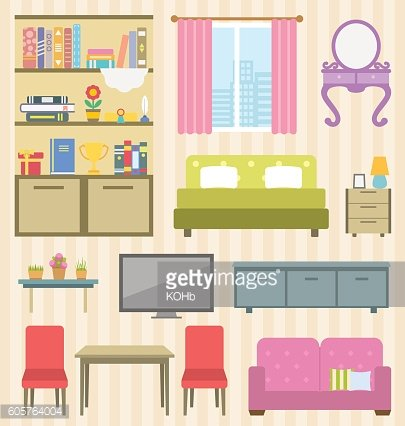 Set of Colorful Furniture Room for Your Interior Apartment