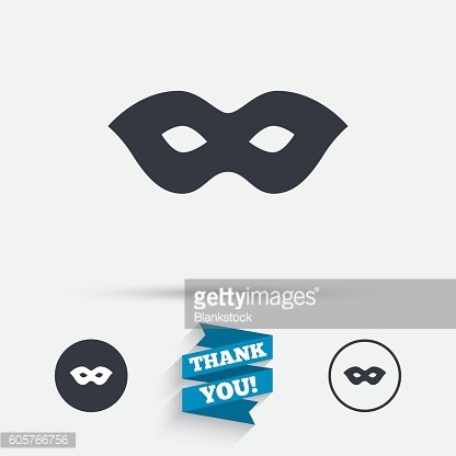Mask sign icon. Anonymous spy access symbol.
