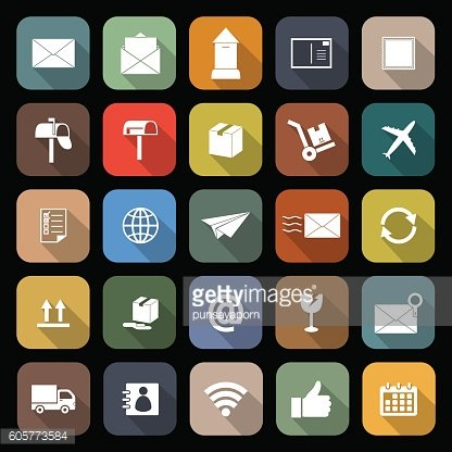 Post flat icons with long shadow