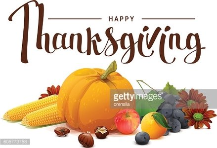 Happy Thanksgiving lettering text. Rich harvest
