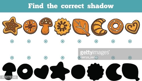 Find the correct shadow, vector set of cookies