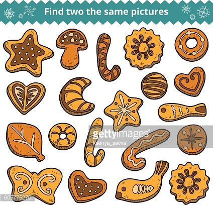 Find two the same pictures, cookies