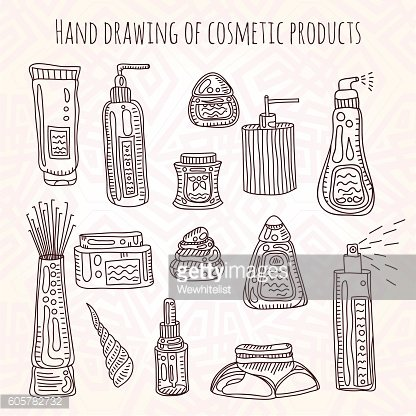 Hand drawing illustration of a set of make up, cosmetics.