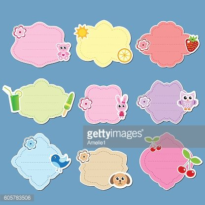 Set of cute labels, stickers, frames for text. Kids tag