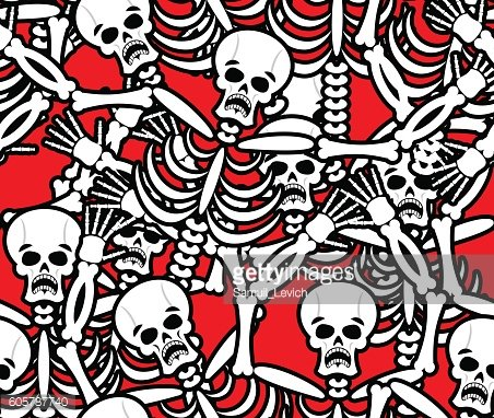 Hell seamless pattern. Skeleton in Sinners background. Ornament