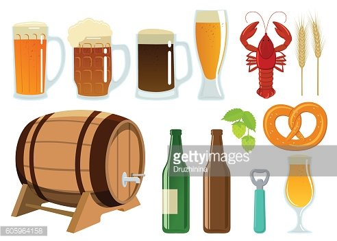 Set of beer glasses, bottle and snack icons