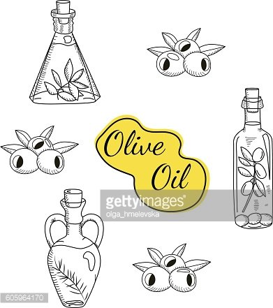 Vector hand drawn sketchy set of olive oil bottle icons