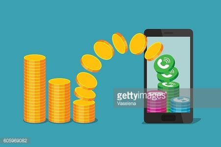 Phone and coins. Payment of communications services