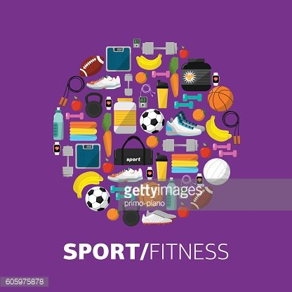 Sports equipment background, vector flat icon