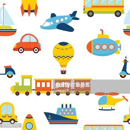 Seamless pattern with colorful transport. Cute background