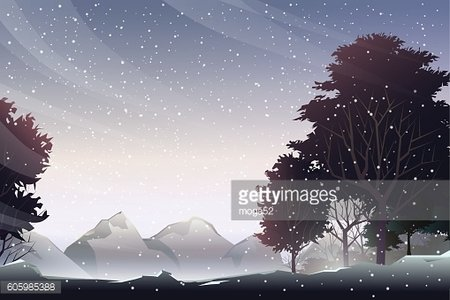 snow on mountain at evening