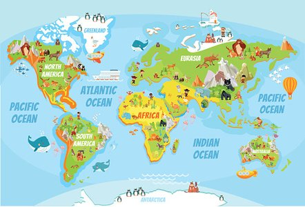 Global map with cartoon animals premium clipart clipartlogo global map with cartoon animals gumiabroncs Images