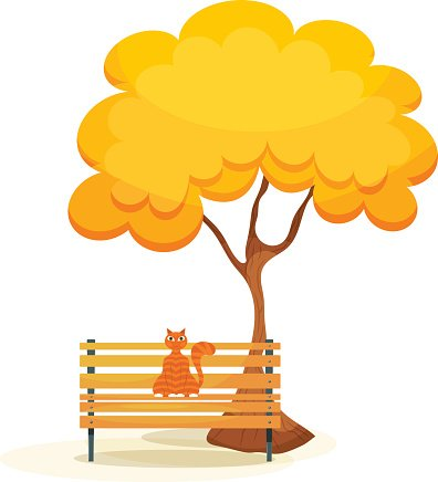 Terrific Ginger Tabby Cat On A Wooden Bench Premium Clipart Machost Co Dining Chair Design Ideas Machostcouk