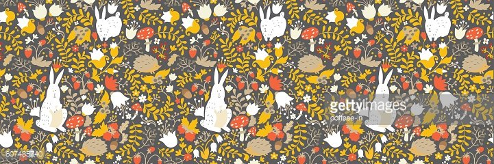 Cute animals on magic forest seamless pattern. Rabbit and hedgehog