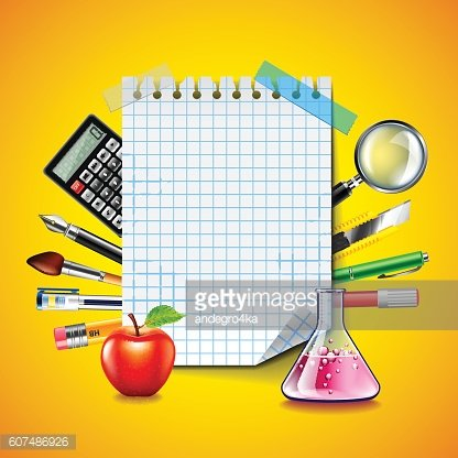 Sheet of notebook and school tools on yellow background
