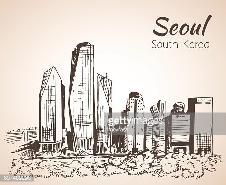 Seoul cityscape, hand drawn - South Korea. Sketch