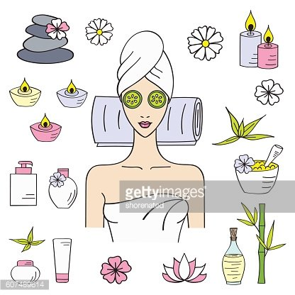 Vector illustrations of Beautiful woman spa treatment.