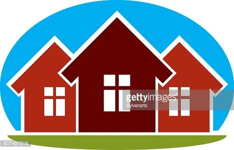 District conceptual vector illustration, three simple houses.