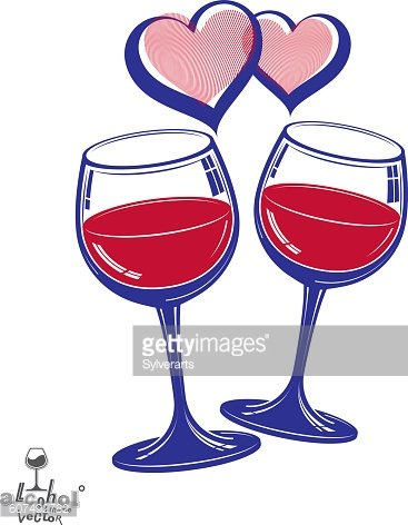 Valentines day theme vector illustration. Two wineglasses