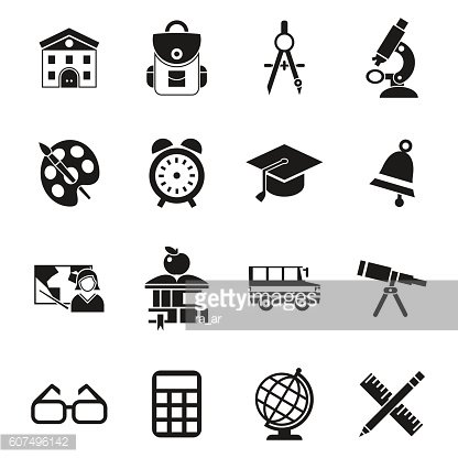 school, education black and white icons set