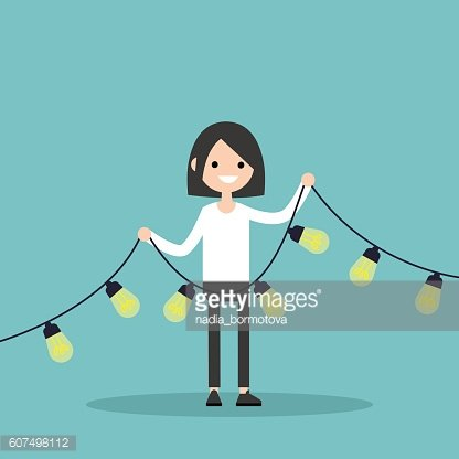 Idea concept: Smiling girl holds a garland