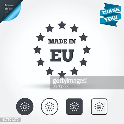 Made in EU icon. Export production symbol.