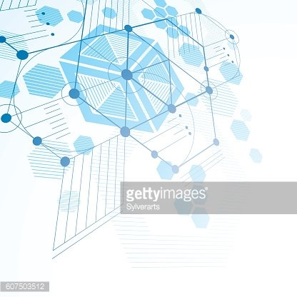 3d vector abstract blue background created in Bauhaus retro style