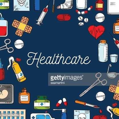 Healthcare and medicine sketched background