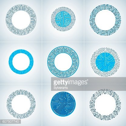 Set of vector abstract technology elements with blue circuit boards