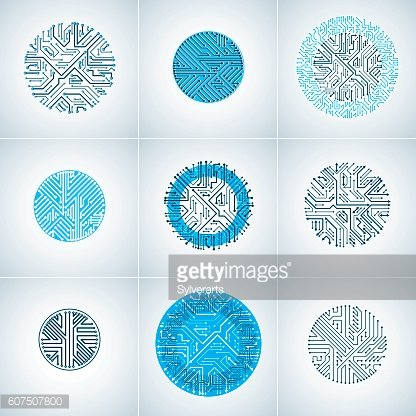 Vector blue circuit board circles, digital technologies abstracttions