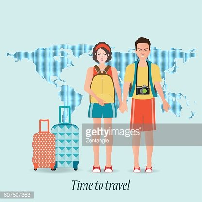 Couple travelers with luggage on world map background.