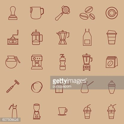 Barista line color icon on brown background