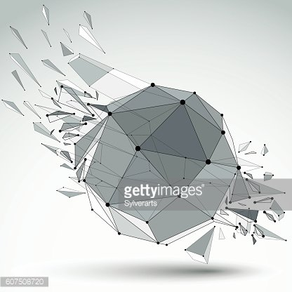3d vector low poly object with black connected lines