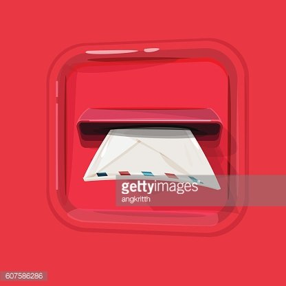 Post box with letter. letter inserting to mail box