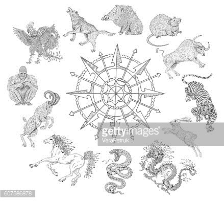 Graphic chart with zodiac animals isolated on white
