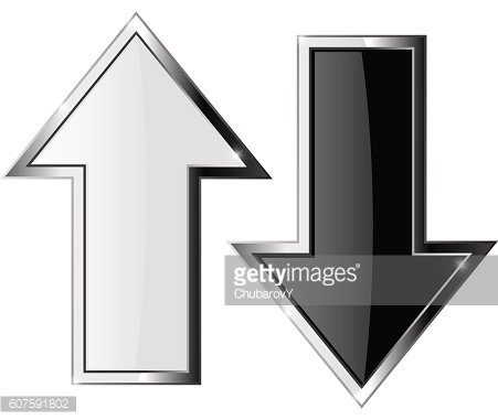 Up and down arrows. Black and white icons