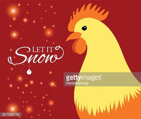 Merry Christmas e-card with rooster and designed text. Vector