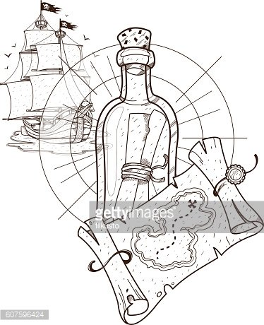 Pirate ship, treasure map, a bottle with a message.
