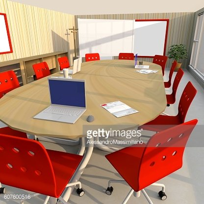 3d interior rendering of furnished meeting room with red chairs