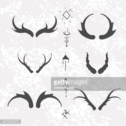 Set of horns in hand-draw style.